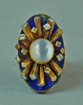 LAPIS, MOONSTONE & DIAMOND COCKTAIL RING