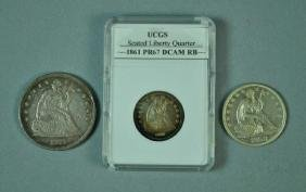 (3) US SEATED LIBERTY SILVER COINS