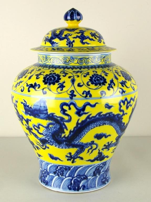 Chinese Blue And Yellow Porcelain Ginger Jar Lot 141