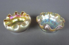 TWO TIFFANY GOLD FAVRILE PINCHED SALTS