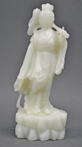 CHINESE WHITE JADE CARVED FIGURE OF A GUANYIN