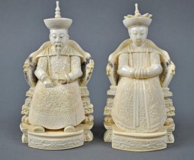 PAIR OF CHINESE CARVED IVORY ANCESTRAL FIGURES