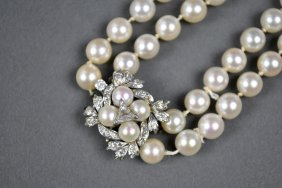 DOUBLE-STRAND PEARL NECKLACE WITH DIAMOND CLASP