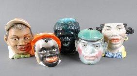 FIVE BLACK AMERICANA FIGURAL HUMIDORS
