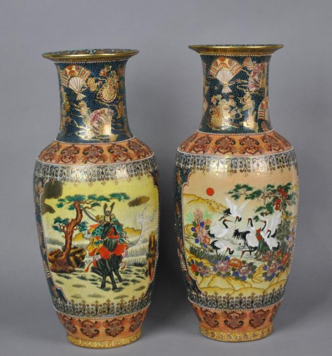 Pair Of Chinese Satsuma Floor Vases Lot 167