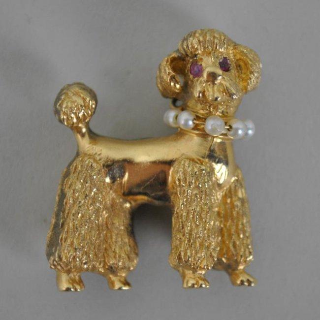 large gold poodle charm lot 72