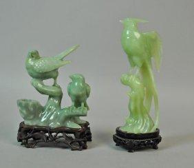 (2) Chinese Carved Jade Bird Figurals