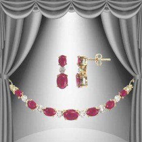 14 CT Ruby Diamond Elegance Set