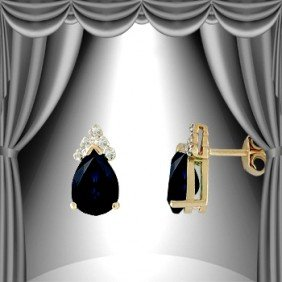 3 CT Sapphire Diamond Teardrop Earrings
