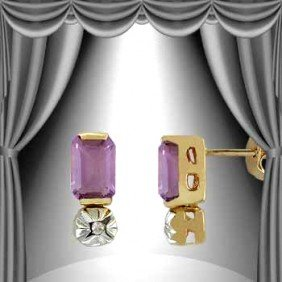 1.3 CT Emerald Cut Amethyst And Diamond Earrings