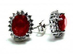 Natural Ruby Diamond Earrings Appraised At $3,880