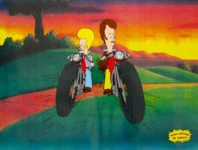 BEAVIS AND BUTTHEAD MOTORCYCLE GANG Animation Cel