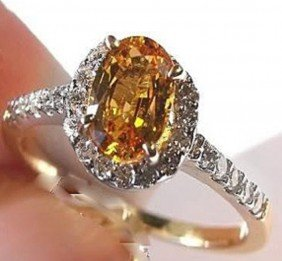 2.10 CT Yellow Sapphire Diamond Ring Appraised $4,3