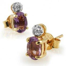 Genuine .85 CT Amethyst Diamond Earrings