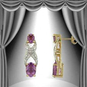 3.3 CT Amethyst Diamond Earrings