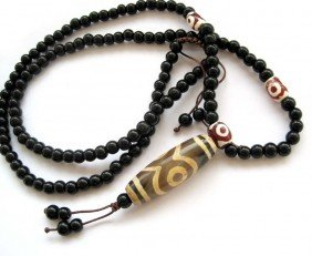 Infinity Drum Bead Tibetan Mala Prayer Necklace