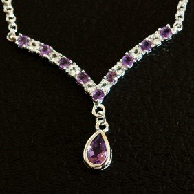 4 CT Amethyst And White Sapphire Necklace