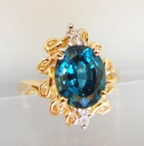 London Blue Topaz & Diamond Ring Appraised $3,800