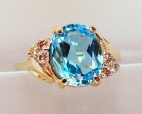 Blue Topaz And Diamond Ring - Appraised At $4,400