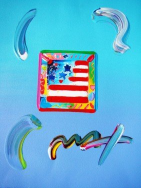 "Peter Max ""Flag With Heart"" Original Mixed Media"