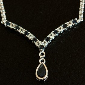 4 CT Blue Sapphire And White Sapphire Necklace