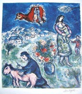 Marc Chagall Signed Litograph - Sir La Route Du Vi