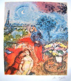 Marc Chagall Signed Litograph - Eiffel Tower Seren