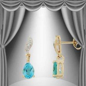 1.6 CT Blue Topaz Diamond Dangle Earrings