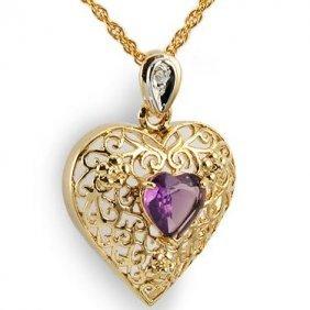 Genuine 1 CT Amethyst Diamond Heart Pendant