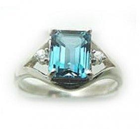 2.10 CT Blue Topaz Diamond Ring Appraised $2,600