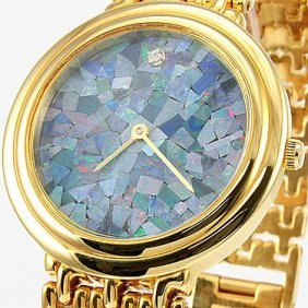 Genuine Opal Face With Diamond Gold Watch