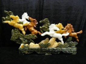 REAL MULTI JADE 8 HORSES MOUNTAIN