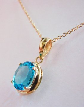 2.80 CT Blue Topaz Pendant Appraised At $2,900