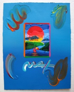 Peter Max WITHOUT BORDERS Original Mixed Media