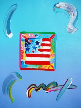 Peter Max FLAG WITH HEART Original Mixed Media