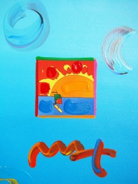 "Peter Max ""SAILBOAT"" Original Mixed Media"