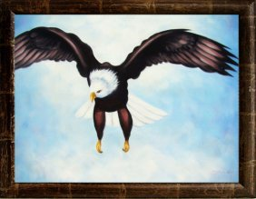 Framed Oil Painting, Pride Of An Eagle