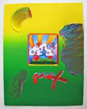 Peter Max COSMIC RUNNER Original Mixed Media