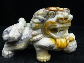 Hand Carved Oily Jade Lion / Foodog