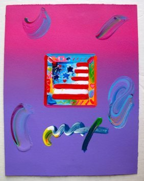 Peter Max FLAG WITH HEARTS Original Mixed Media