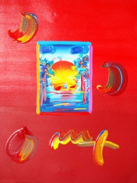 "Peter Max ""A BETTER WORLD"" Original Mixed Media"