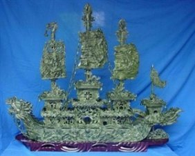 "LARGE 48"" GREEN JADE DRAGON BOAT"
