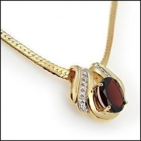 Genuine 7 Ct Garnet Diamond Pendant