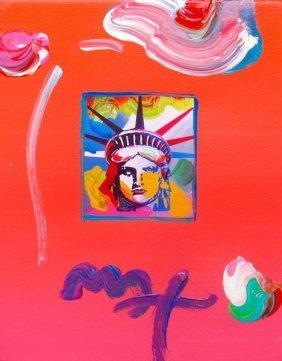 Max Liberty Head Hand Signed Original Mixed Media