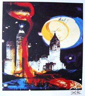 Salvador Dali Lithograph Manhattan Skyline