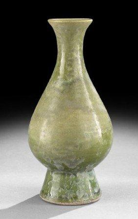 Chinese Olive-Glazed Earthenware Vase