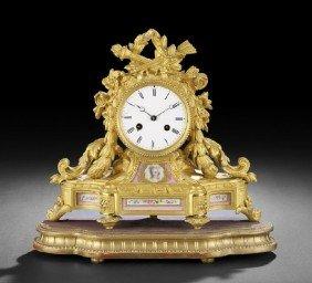 Gilt-Bronze And Porcelain Mantle Clock