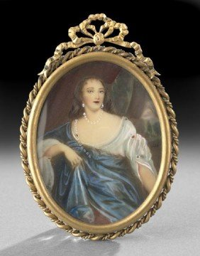 Continental Portrait Miniature On Ivory Of A Lady
