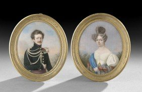 Pair Of Miniatures A Russian Officer And His Wife