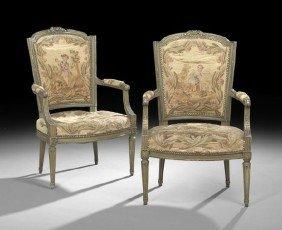 Pair Of Louis XVI-Style Polychrome Fauteuils